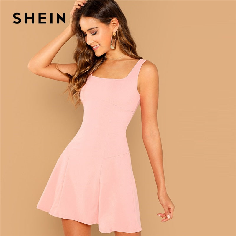 SHEIN Pink Party Solid Fit And Flare Straps Neck Sleeveless Short Dress  Autumn Elegant Women Dresses 333339a0c974