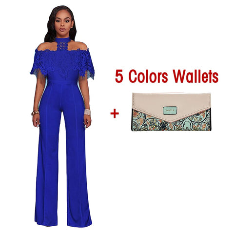 Elegant Lace Patchwork Wide Leg Jumpsuits Sexy Halter Ruffles Bodysuits Work Party Overalls Long Romper Women Playsuit