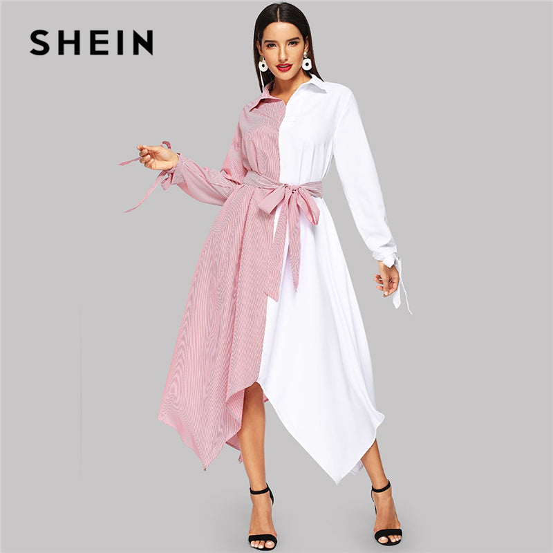 7fe48e7bd0f SHEIN White And Pink Two Tone Self Belted Colorblock Asymmetrical Belted  Collar Dress 2018 Autumn Modern
