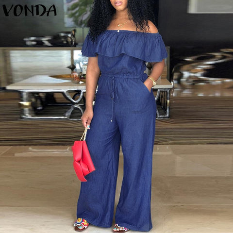VONDA Denim Rompers Womens Jumpsuit 2018 Summer Sexy Slash Neck Off Shoulder Ruffles Playsuits Plus Size Wide Leg Pants Overalls
