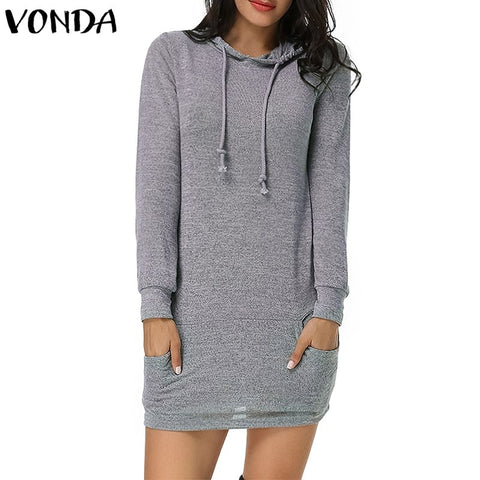 VONDA Women Hoodies Hooded Dress 2018 Autumn Sweatshirts Casual Fashion Pullovers Solid Long Sleeve Tops Vestidos