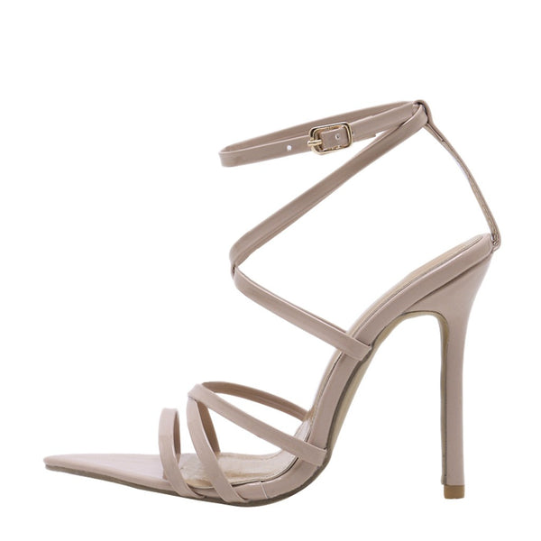 Women Fashion Solid Pointed Toe High Heel Thin Heels Sandals Party Wedding Shoes