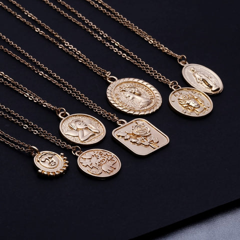 Ingemark Simple Vintage Carved Coin Pendant Necklace Statement Face Goddess Virgin Mary Rose Angel Long Chain Necklace Women