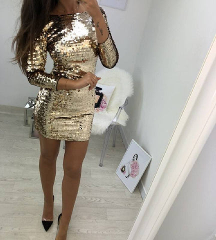 Sexy Women Sequin Cocktail Party Dress