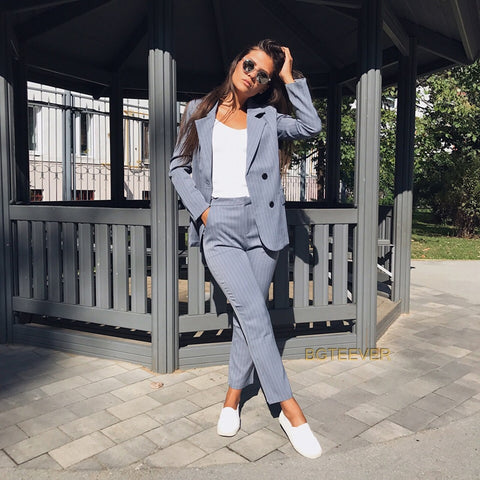 Work Pant Suits OL 2 Piece Sets Double Breasted Striped Blazer Jacket & Zipper Trousers Suit For Women Set Feminino Spring