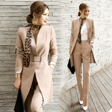 2018 Autumn Women OL Blazer Suit Set Lady Office Work Korean Uniform V-Neck Elegant Long Business Jacket High Waist Pants Suits