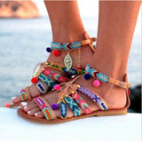 Women Sandals 2019 Summer Bohemian National Style Fashion Shoes Sandal Flat Shoes Woman Rainbow Colors