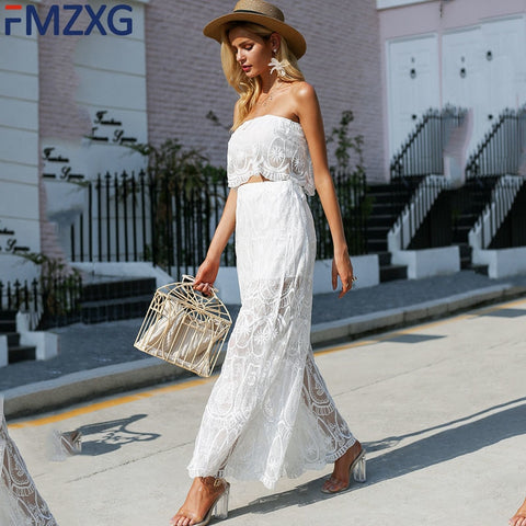 White Lace Lavish Embroidery Women Two Piece Sets Sexy Sleeveless Blouse Top High Waist Wide Leg Lace Slit Pants Ttwo Piece Set