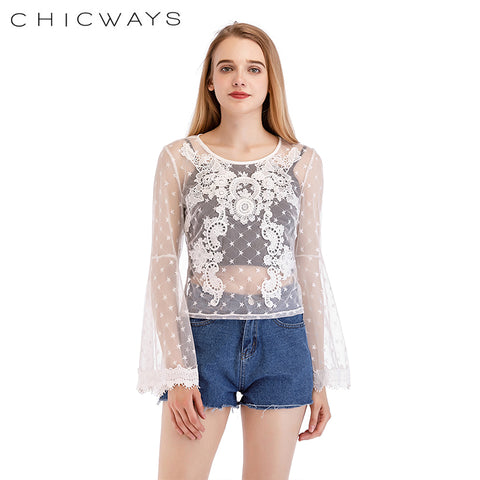 Chicways Fashion Women Mesh Tops Flare Long Sleeve Sexy Transparent lavish Lace Mesh Blouse 2018 Summer Autumn Casual Top