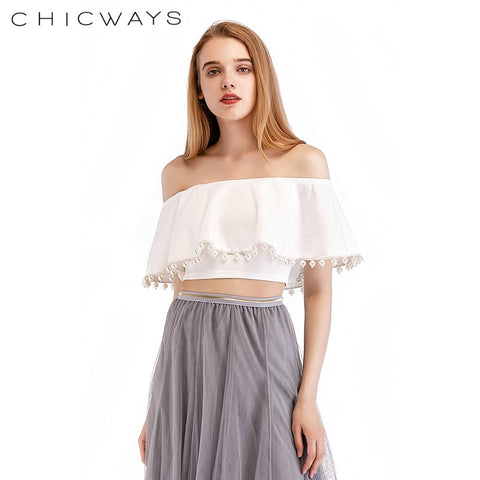 CHICWAYS Sexy Off Shoulder Crop Top Women Ruffles Backless White T-Shirt Summer Lavish Pearl Lace Up Streewear Beach Camis