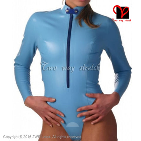 Blue Sexy Latex catsuit Leotard Turn dow collar Rubber Bodysuit Gummi jumpsuit cat suit jump body tights long sleeved XXL LT-123