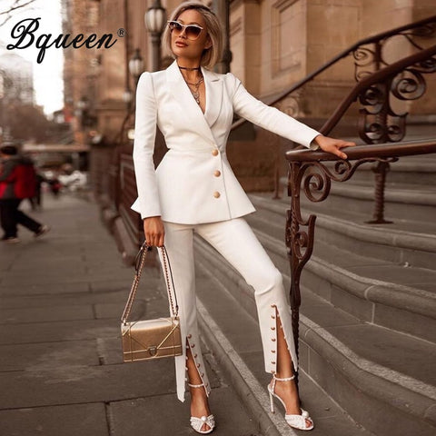 Bqueen 2019 Fashion V-Neck Sexy Business Pant Suits Set  Formal Women OL Elegant Sexy  Pieces Pant Suit  Sets
