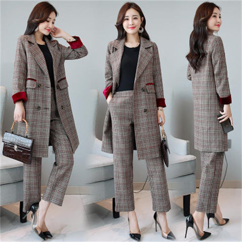 Women Small suit suit female 2018 autumn new Korean fashion temperament slim straight pants two sets OL career suits Ms. trend