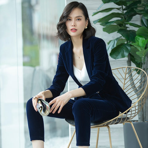 Ms. Small suit jacket female 2018autumn and winter new version of the self-cultivation gold velvet chic suit set two-piece Women