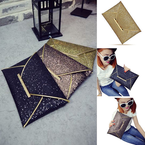 2018 Luxury Brand Evening Pouch Bag fashion Women Sequins Envelope Clutch Handbag Sparkling Wedding Party Bag Gold Purse