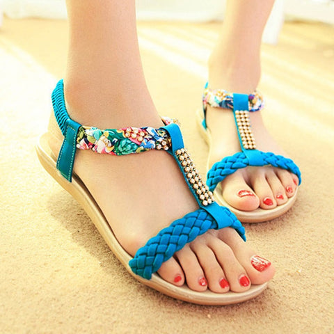LAKESHI Fashion Women Sandals 2019 Women Shoes Flat Sandals Women Rhinestones Ladies Shoes Summer Beach Sandalias Female Shoes
