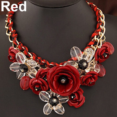 Women Statement Choker Flower Necklace Bib Collar Pendant Fashion Jewelry