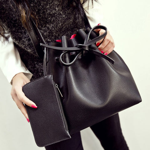 50pcs/lot Fashion All-match Bucket Bag Pu Leather One Shoulder Cross-body Women's Handbags
