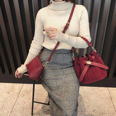 Fashion all match bucket bag simple style Pu Leather One Shoulder Women's handbags Female Bag Casual Luxury Handbag Women bags