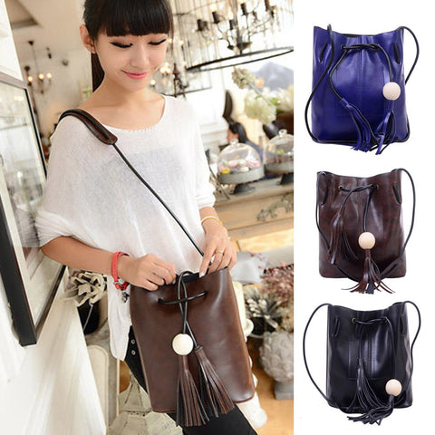 hot selling Fashion 2017 candy color fashion all-match bucket bag pu leather one shoulder cross-body women's handbags