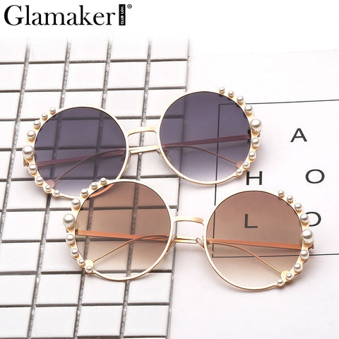 Glamaker Round rhinestone chic cat Sunglasses Women casual streetwear clear lens eyewear Sun glasses yellow summer for female