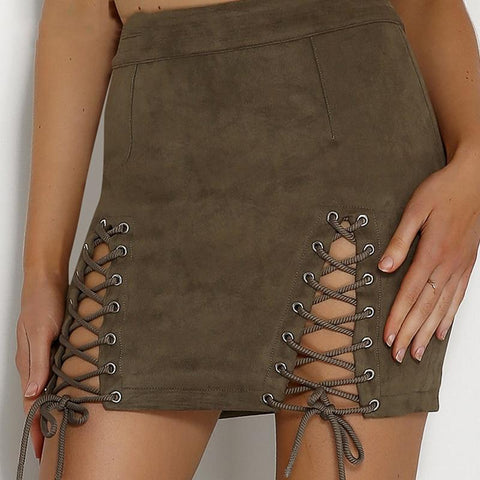AINYFU 2019 New High Waist  Short Pencil Skirt Sexy Lace Up Leather Suede Skirts Women Vintage Cross Zipper Split Mini Skirt 55