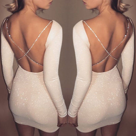 Women Bodycon Nightclub Sexy Dress Long Sleeve Solid Backless Skinny Mini Dress Party Dress