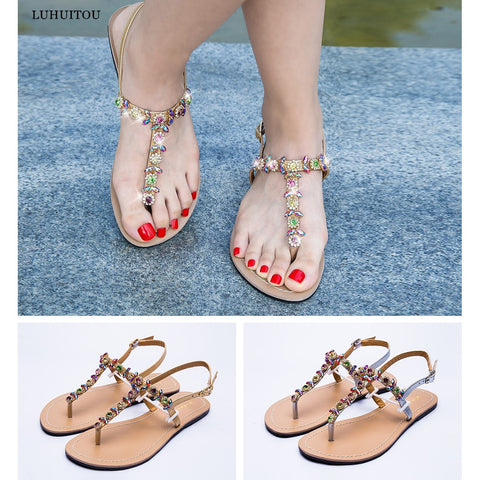 2019 NEW Women`s Flat beach shining rhinestones sandals summer bohemia diamond sandals T-strap thong flip flops  Slippers Boho