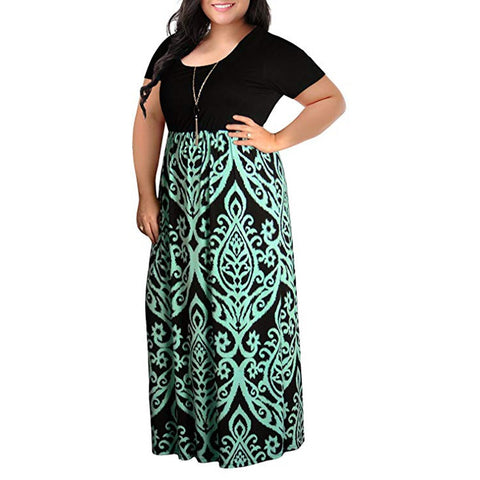 Summer Chevron Printed Dresses Women Plus Size Short Sleeve Maxi Boho Dress Beach Style Casual Party Dress #YL5