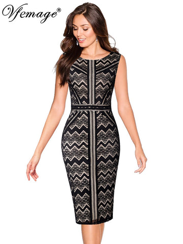 Vfemage Womens Elegant Zig Zag Chevron Lace Patchwork Slim Work Casual Cocktail Party Special Occasion Bodycon Pencil Dress 2079