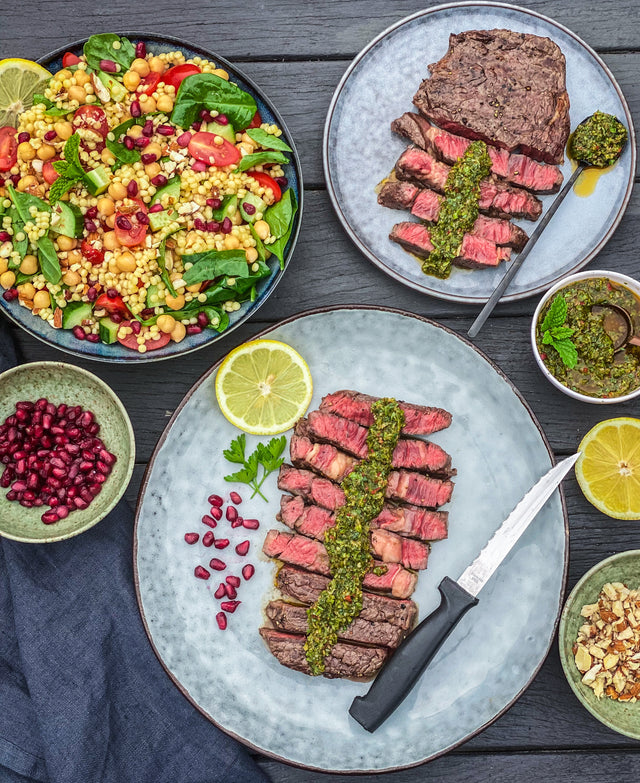 BBQ Steak with Chermoula and a Pearl Couscous Salad