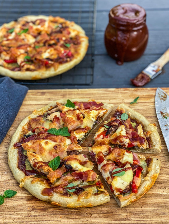 BBQ chicken and bacon pizza