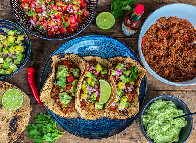 Chipotle chilli & lime slow cooked beef brisket tacos