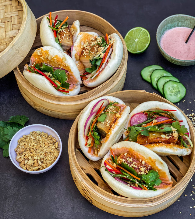 Pork Belly Bao Buns with Spicy Mayo
