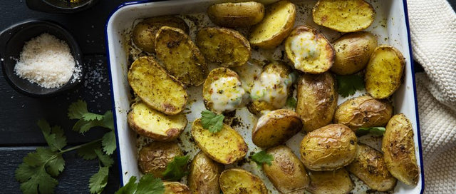 Moroccan Potatoes with Coriander & Orange yoghurt sauce