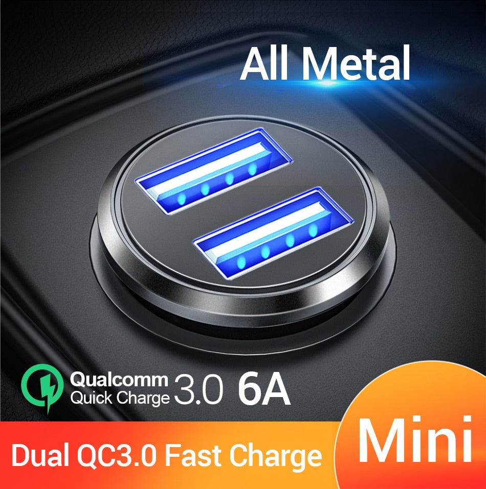Car Charger Dual QC 3.0 USB fast Charge All Metal 36W 6A Adapter