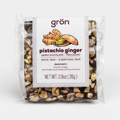 Pistachio Ginger Dark Chocolate, Green Market CBD