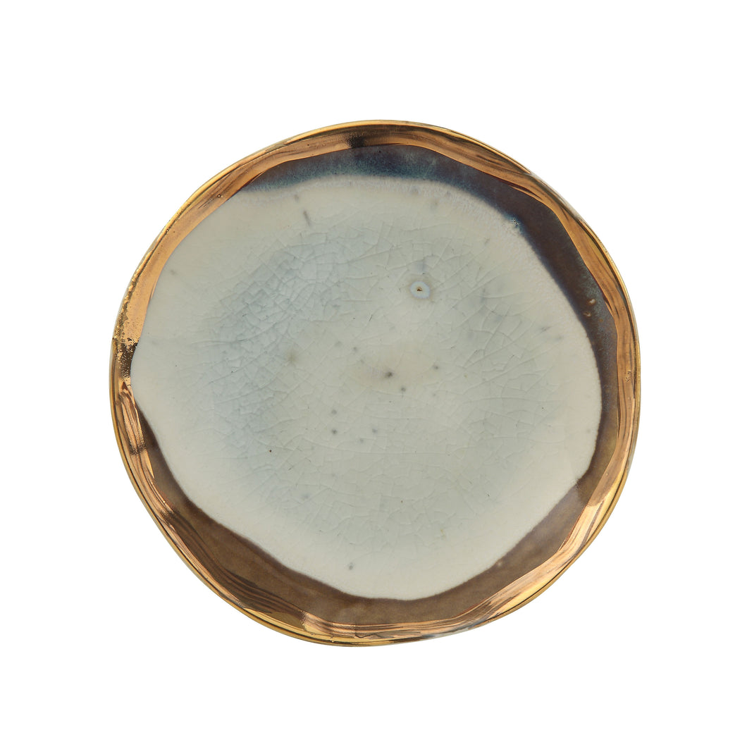 Ceramic Plate with Gold Rim