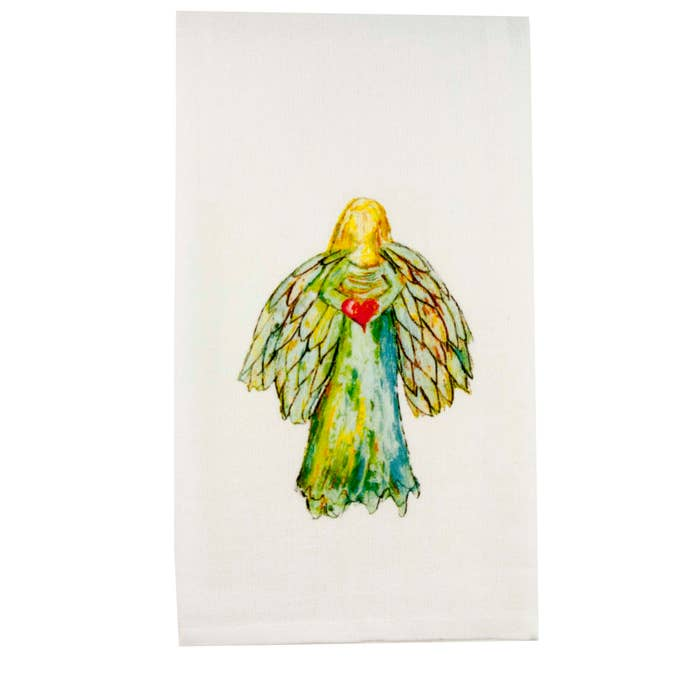 Angel with Heart Tea Towel