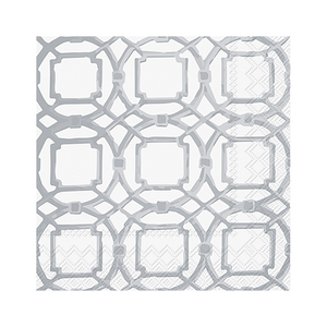 Silver Courtyard Beverage Napkins