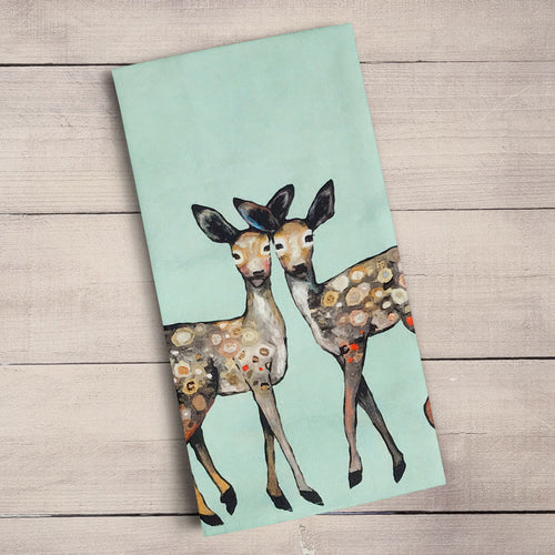 GreenBox Art | Dancing Fawns Tea Towel