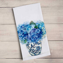 Load image into Gallery viewer, GreenBox Art | Dreaming in Blue Hydrangeas Tea Towel