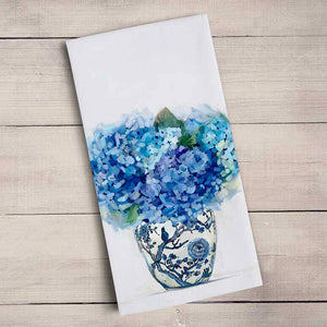 GreenBox Art | Dreaming in Blue Hydrangeas Tea Towel