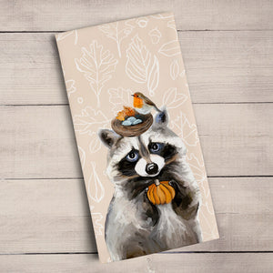 GreenBox Art | Fall Thankful Raccoon Tea Towel