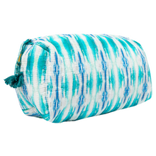 Load image into Gallery viewer, Laura Park Designs | Flower Child Teal Quilted Cosmetic Bag