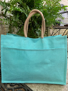 Jute Pocket Tote | Aruba Blue