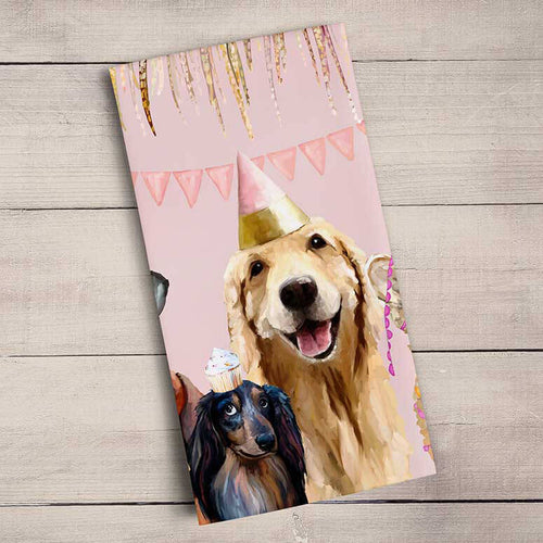 GreenBox Art | Best Friends - Party Pups Tea Towel
