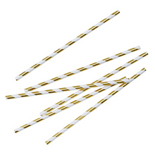 Load image into Gallery viewer, Gold Stripe Paper Straws