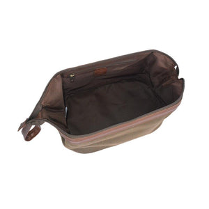 Brown Faux Suede Traditional Dopp Kit