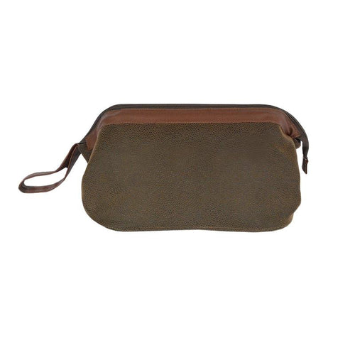 Brown Faux Suede Shaving Dopp Kit